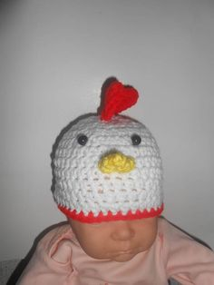 87124d4ed4c Crochet Chicken Rooster photo prop chick hat winter hat farm animal barn  yarn chicken costume hat Halloween Accessories your size choice