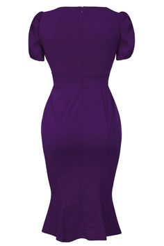 Fishtail Purple Plain Medium Length Cotton Short Sleeve Fishtail Dress