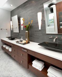 My bathroom vanity design modern bathroom by In Detail Interiors - Cheryl Clendenon Pensacola Florida Modern Bathroom Cabinets, Modern Master Bathroom, Modern Bathroom Design, Bathroom Interior, Modern Bathrooms, Small Bathroom, Master Baths, Rustic Bathrooms, Master Bedrooms