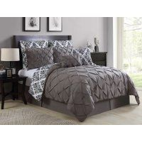 Add a modern touch to your bedroom's décor with the exquisite Merritt Queen Reversible Comforter Set. Adorned with a fretwork design, the trendy bedding brings a simple yet chic look to your guest or master bedroom. Taupe Bedding, Comforter Sets, Comforters, Down Comforter, Blue Bedding, Bed, Comfortable Bedroom, Bedding Sets, Luxury Comforter Sets