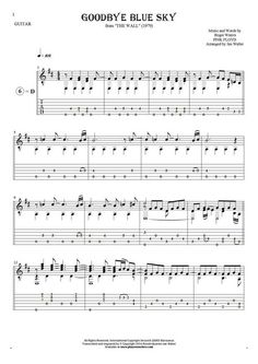 Goodbye Blue Sky sheet music by Pink Floyd. From album The Wall (1979). Part: Notes and tablature for guitar solo (fingerstyle).