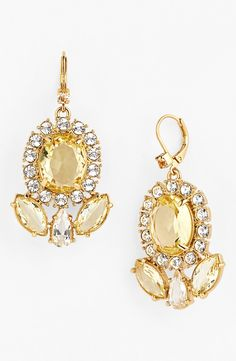 In love with these lemon and clear crystal drop earrings.