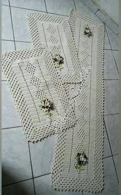 Thread Crochet, Crochet Granny, Filet Crochet, Irish Crochet, Crochet Stitches, Crochet Patterns, Crochet Placemats, Crochet Table Runner, Crochet Doilies