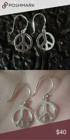 """Peace Sign Dangle Earrings Set in 925S 1""""L 1/2""""W Adorable Peace Sign Dangle Earrings Set in Solid 925 Sterling Silver, High Polish, 1""""L by 1/2""""W...Comes With a Packaged, Anti-Tarnish, Polishing Cloth. Fine Jewelry Jewelry Earrings"""