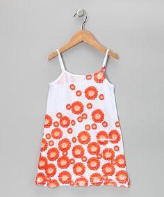 Orange Daisy Pocket Dress - Girls