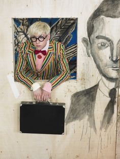 illustrator / prop stylist gary card channeling david hockney, by william selden, styled by nicola formichetti, for another man magazine Estilo Nerd, David Hockney, Male Magazine, Candy Stripes, Artist Life, Another Man, Art For Art Sake, Painting & Drawing, Cool Art