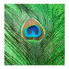 Glittery Green Peacock Shower Curtain