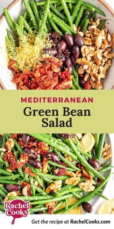 You'll never look at green beans again without thinking of this spectacular Mediterranean style green bean salad. There's nothing ho-hum about this salad! This recipe is quick, easy and the perfect way to showcase summer green beans! It's a great vegetarian side dish option that you'll want to eat it every day. Serve this salad at room temperature or chilled. It's good warm, too. Perfect with grilled salmon or chicken, or a great steak! Healthy Salad Recipes, Soup Recipes, Whole Food Recipes, Vegetarian Side Dishes, Vegetarian Recipes, Green Beans With Bacon, Green Bean Salads, Usda Food, Small Tomatoes