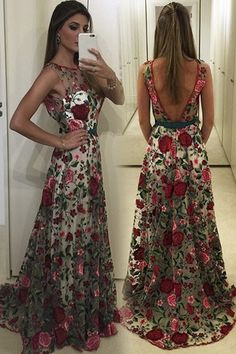 Exquisite Round Neck Prom Dress,Sleeveless Backless Evening Dress,Sweep Train Floral Lace Prom Dress,Dramatic A-Line Party Dress,Prom Dresses,SV55