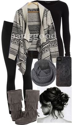 #fall #outfit / Tribal Printed Cardigan + Grey Knit Scarf