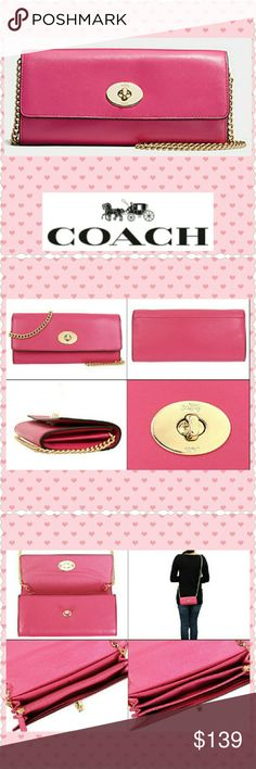 """Coach slim envelope purse in Dahlia Style F53890, Dahlia-color, gold-tone hardware   Slim Envelope in smooth leather, turnlock closure.  22"""" chain drop; mini-lobster clasps for easy removal or tuck inside if used as a clutch.   Outside open pocket  Full-length bill compartments  12 credit card slots Zip coin pocket  Size 8""""L x 3 3/4"""" H  Brand NEW & comes with tags, care card & Coach box. Retail $275  Peace of mind:  All my bags are guaranteed authentic as I purchase directly from Coach or an…"""