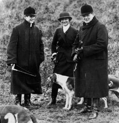 On right, Winston Churchill accompanied by his son Randolph and Coco Chanel at a meet of the Duke of Westminster's boar hounds, the 'Mimizan Hunt' near Dampierre, northern France on Jan. 1, 1928.