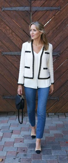 classic black and white boucle cropped blazer with frayed hem skinny jeans and chanel cap to slingbacks (m2malletier, zara, st john knits)
