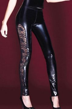 34,39e koko L Coquette Black Wetlook Leggings, with Stretch Lace Side Panels
