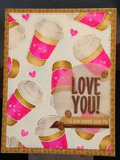 Coffee Card - Love You Card - Simon Says Stamp February 2017 Card Kit - Stamps:  Simon Says Stamp Coffee and Tea, Stampin' Up Bold Botanicals - Dies:  Simon Says Stamp Stitched Rectangles and Circles - Versamark Ink - Embossing Powders: Hero Arts White, Stampin' Up Copper - Doodlebug Latte Love Sprinkles - Doodlebug Cream and Sugar Paper Pack  - Kuretake Clean Color Real Brush Markers:  Light Gray, Light Blue, Pink, Beige - Inspiration…