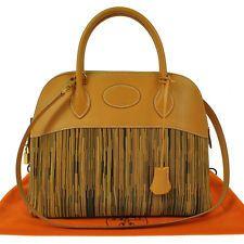 Authentic HERMES BOLIDE 31 Natural Vibrato Vache Hand Bag Vintage w/Strap F00283