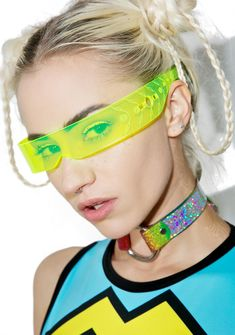 yes, it is lit. This sikk 'N totally unique eyewear piece features a translucent bright f*xkin' yellow construction that glowz under UV lighting and cyber inspired etched details on the arms. Black Jeans Outfit, Future Fashion, Festival Outfits, Ladies Dress Design, Alternative Fashion, Eyewear, Glasses, Speed Racer, Area 51