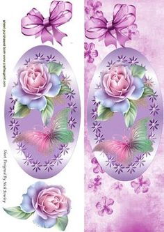 Pink roses and butterflies in ornate frame with bow Tall DL on Craftsuprint - Add To Basket!