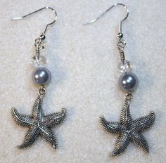 Handcrafted by Teal Palmetto, LLC. A starfish-loving customer on Fripp Island, South Carolina, purchased these earrings.