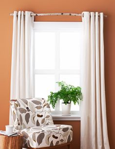 Say curtains to your regular rod and go with something organic: A birch branch is the perfect perch for grommet-top or ring-clip panel drapes. Snag a sturdy yet slim branch from outdoors or a local florist (ask if they can order one to your specs); saw to fit the window's width, allowing a few inches of overhang on each side. Mount with U-shaped drapery brackets to cradle the branch from below; slide panels on.   - GoodHousekeeping.com