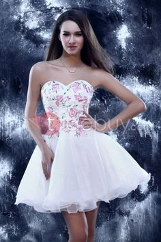 Cute A-Line Mini Sweetheart Embroidery Lace-up Sandra's Homecoming/Sweet 16 Dress : Tidebuy.com