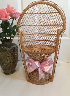 Wicker Peacock Mini Chair, Plant  Stand/Wedding Decor Baby Shower Decorations, Wedding Decorations, Mini Chair, Small Potted Plants, Vintage Garden Decor, Vintage Furniture, Peacock, Wicker, Vintage Items
