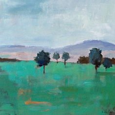 landscape painting acrylic painting on wood panel 20x20 by pamelam