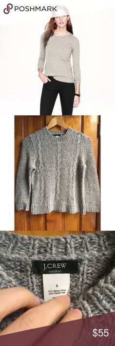 """J. Crew Merino Rabbit Hair Blend Cable Sweater SML J. Crew Handknit Merino Rabbit Hair Blend Cable Sweater Size:Small // Bust:15"""" Length:18"""" / Condition: GREAT // Material: 75% Merino Wool 25% Rabbit Hair // This sweater is the softest and coziest J. Crew has ever made // Classic cable handknit form surely makes this a timeless, staple piece for anyone's wardrobe! // 15% off on bundles // I ship same-day from pet/smoke-free home. Buy with confidence. I am a top seller with close to 400…"""