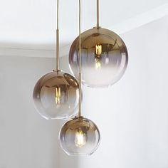 Sculptural Glass 3-Light Round Globe Chandelier, S-M-L Globe, Gold Ombre Shade, Brass Canopy