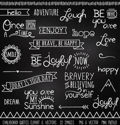 Our Chalkboard Quotes Clipart includes 22 PNG files with transparent backgrounds and 1 Adobe Illustrator vector file with 22 images. Each image is