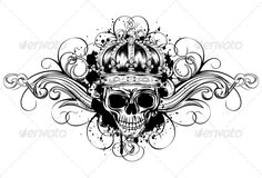 Skull in Crown with Patterns  #graphicriver