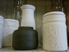 Porcelain Mason Jars and Milk Jugs. And a sweet ceramic vase with a matte glaze from Asrai Garden, Chicago.