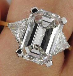 Estate GIA 5.51ct Emerald Cut Three Stone Diamond Engagement Wedding Platinum 18k Ring $38,400.00