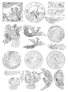 Confidence Tattoo, Outdoor Dinnerware, Chinese Element, Phoenix Art, Mandala Coloring Pages, Hanfu, Asian Art, Tatting, Vintage World Maps