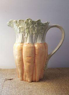 Fritz and Floyd Carrot Pitcher Vintage Ceramics Porcelain Lemonade Pitcher
