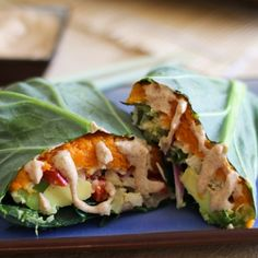 Roasted sweet potato and cauliflower rice collard wraps with ginger-almond sauce. Super tasty and paleo friendly!