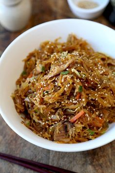 This Spaghetti Squash Yakisoba Style Recipe is so delicious, you won't miss the noodles at all! This is a healthy and yummy substitute for carbs!