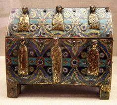 Limoges Reliquary - Reliquary casket decorated with enamel and gold figures. Made in Limoges, late 12th century.
