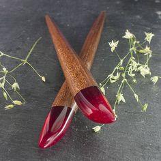 Pair of hair sticks Hair pins  resin and wood