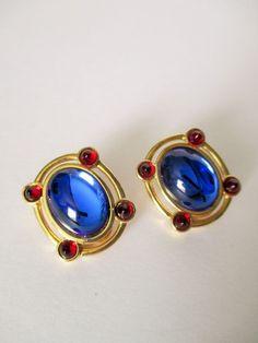 Vintage MONET Clip On Earrings Sapphire Blue / Ruby Red Rhinestone Cabochons #Monet #ClipOnDesignerVintage