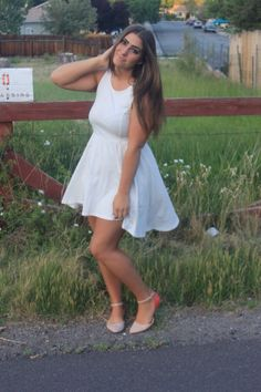 white high to low H&M summer dress with two tone leather ankle flats outfit