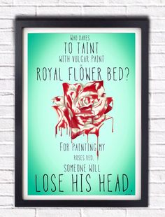 Hey, I found this really awesome Etsy listing at https://www.etsy.com/listing/177594118/alice-in-wonderland-painted-rose-queen