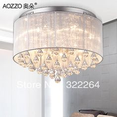 mobile site-free shipping best selling modern simple fabric crystal ceiling chandelier lights with Name Brand 32*45cm diamater