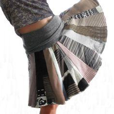Sweater skirt- cut strips of old sweaters and sew together