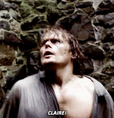 """outlander parallels: 2.06   S3 """" request - anonymous: """"Hi there! I was wondering if you could gif 2x06 when Jamie is screaming Claire's name alongside the end of the season 3 teaser when he's also..."""