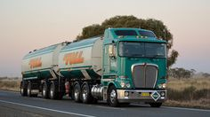 Clean looking B-double tanker set from Toll with Kenworth K200 prime mover