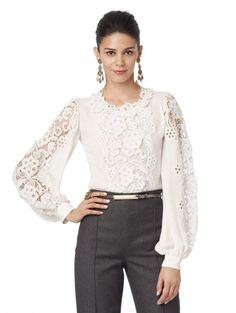 5ce77dc76e858 Oscar De La Renta Long Sleeve Lace Blouse In Natural Lyst Haute Couture  Trousers