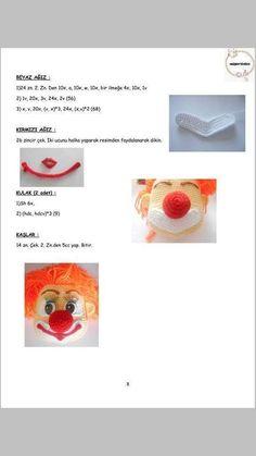 PALYAÇO Crochet Disney, Origami, Free Pattern, Dolls, Style, Crochet Dolls, Amigurumi Patterns, Clowns, Toy
