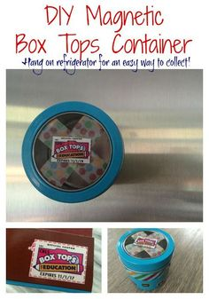 A Super Easy Way to Store Box Tops.  Magnetic Container for Your Refrigerator.  DIY Box Tops Container| The Chirping Moms ||