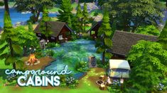 Sims 4 Build - Campground Cabins Underwater House, Granite Falls, Sims 4 Build, Sims 4 Houses, Sims 4 Custom Content, Cabins, Exterior, Gallery, Building